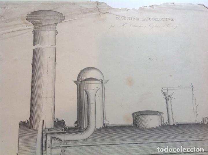 Libros antiguos: Año 1839 lote de 19 grandes laminas de Ferrocarril tren * incunable ferroviario * locomotoras * 61cm - Foto 4 - 186128423