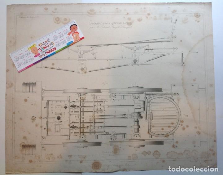 Libros antiguos: Año 1839 lote de 19 grandes laminas de Ferrocarril tren * incunable ferroviario * locomotoras * 61cm - Foto 10 - 186128423