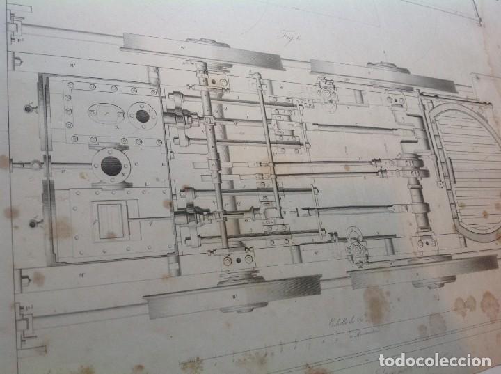 Libros antiguos: Año 1839 lote de 19 grandes laminas de Ferrocarril tren * incunable ferroviario * locomotoras * 61cm - Foto 12 - 186128423
