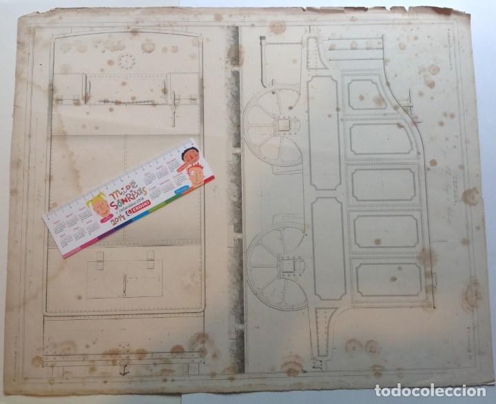 Libros antiguos: Año 1839 lote de 19 grandes laminas de Ferrocarril tren * incunable ferroviario * locomotoras * 61cm - Foto 24 - 186128423