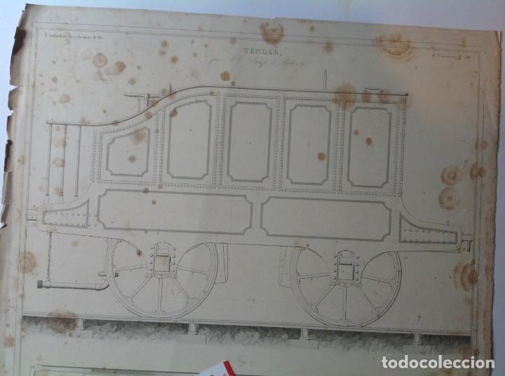 Libros antiguos: Año 1839 lote de 19 grandes laminas de Ferrocarril tren * incunable ferroviario * locomotoras * 61cm - Foto 25 - 186128423