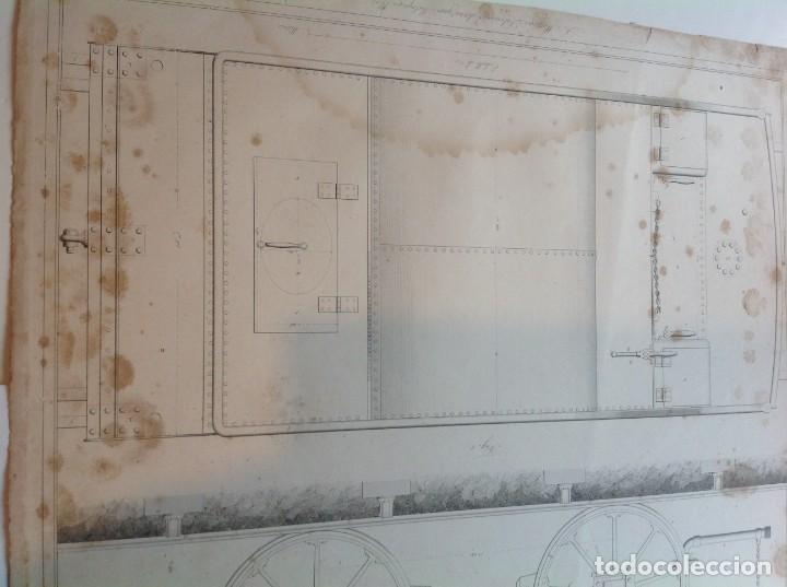 Libros antiguos: Año 1839 lote de 19 grandes laminas de Ferrocarril tren * incunable ferroviario * locomotoras * 61cm - Foto 26 - 186128423