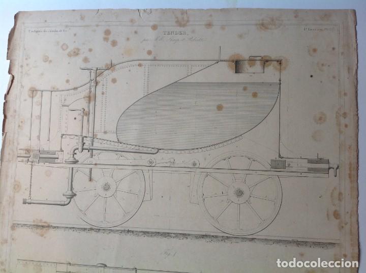 Libros antiguos: Año 1839 lote de 19 grandes laminas de Ferrocarril tren * incunable ferroviario * locomotoras * 61cm - Foto 31 - 186128423