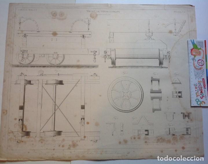 Libros antiguos: Año 1839 lote de 19 grandes laminas de Ferrocarril tren * incunable ferroviario * locomotoras * 61cm - Foto 48 - 186128423