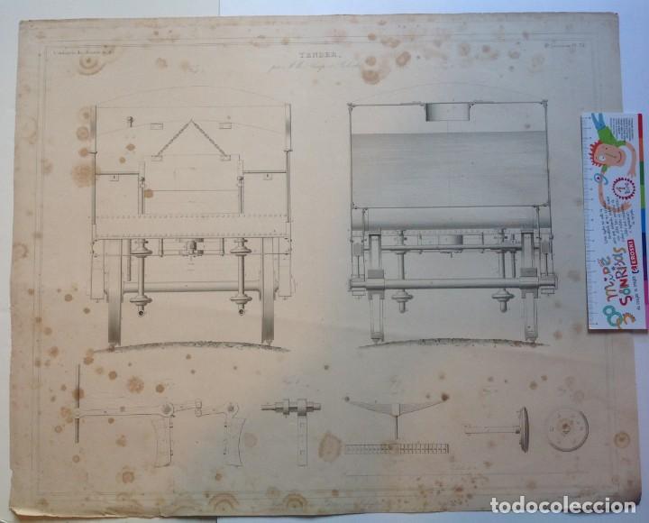 Libros antiguos: Año 1839 lote de 19 grandes laminas de Ferrocarril tren * incunable ferroviario * locomotoras * 61cm - Foto 52 - 186128423