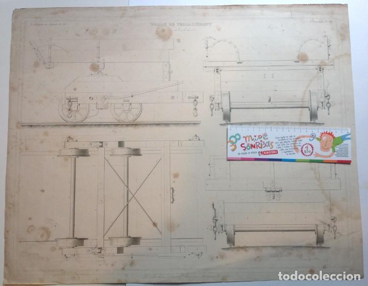 Libros antiguos: Año 1839 lote de 19 grandes laminas de Ferrocarril tren * incunable ferroviario * locomotoras * 61cm - Foto 66 - 186128423
