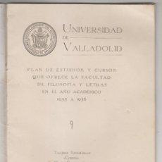 Livros antigos: PLAN DE ESTUDIOS DE LA FACULTAD DE FILOSOFÍA Y LETRAS. UNIVERSIDAD DE VALLADOLID, CURSO 1935 A 1936. Lote 186269677