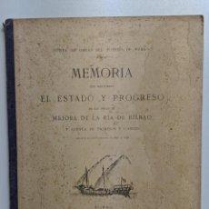 Libros antiguos: 1897 1898 MEMORIA JUNTA DE OBRAS DEL PUERTO DE BILBAO - GRAN PLANO - LITOGRAFIA JUAN E.DALMAS. Lote 186334163