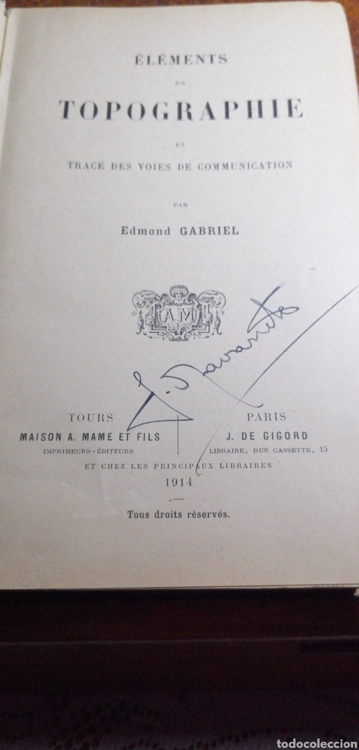 Libros antiguos: ANTIGUO LIBRO DE 1914 ELEMENTS DE TOPOGRAPHIE POR EDMOND GABRIEL - Foto 2 - 188495845