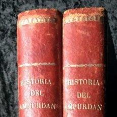 Libros antiguos: HISTORIA DEL AMPURDÁN - JOSÉ PELLA Y FORGAS - 1883 - FOTOGRAFÍAS - 2 TOMOS . Lote 188686277