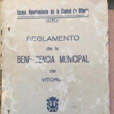 Libros antiguos: REGLAMENTO DE BENEFICENCIA MUNICIPAL. VITORIA 1929. Lote 188808402