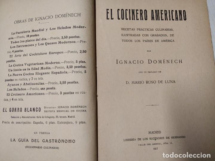 Libros antiguos: 1917 IGNACIO IGNASI DOMENECH EL COCINERO AMERICANO PRIMERA EDICION. PERFECTO ESTADO - Foto 3 - 189438007