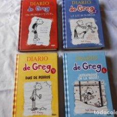 Libros antiguos: 4 LIBROS DIARIO DE GREG PARA NIÑOS 9 - 12 AÑOS. Lote 189465807