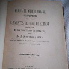 Libros antiguos: MANUAL DE DERECHO ROMANO. JULIAN PASTOR Y ALVIRA. 2º ED. 1888. MADRID. 735 PAGINAS. VER. Lote 189735282