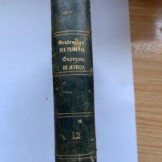 Libros antiguos: SENTENCIAS DEL TRIBUNAL SUPREMO DE JUSTICIA 1866. Lote 189753452