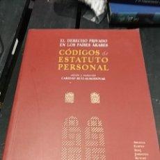 Libros antiguos: EL DERECHO PRIVADO EN LOS PAISES ARABES CODIGOS DE ESTATUTO PERSONAL CARID RUIZ ALMODOVAR. Lote 189754515