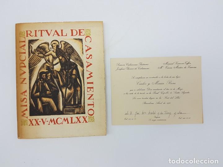 Libros antiguos: MISA NUPCIAL RITUAL CASAMIENTO ( RÚSTICA ) ENLACE CABARROCAS-ZAMORA 1970 - Foto 2 - 190121152