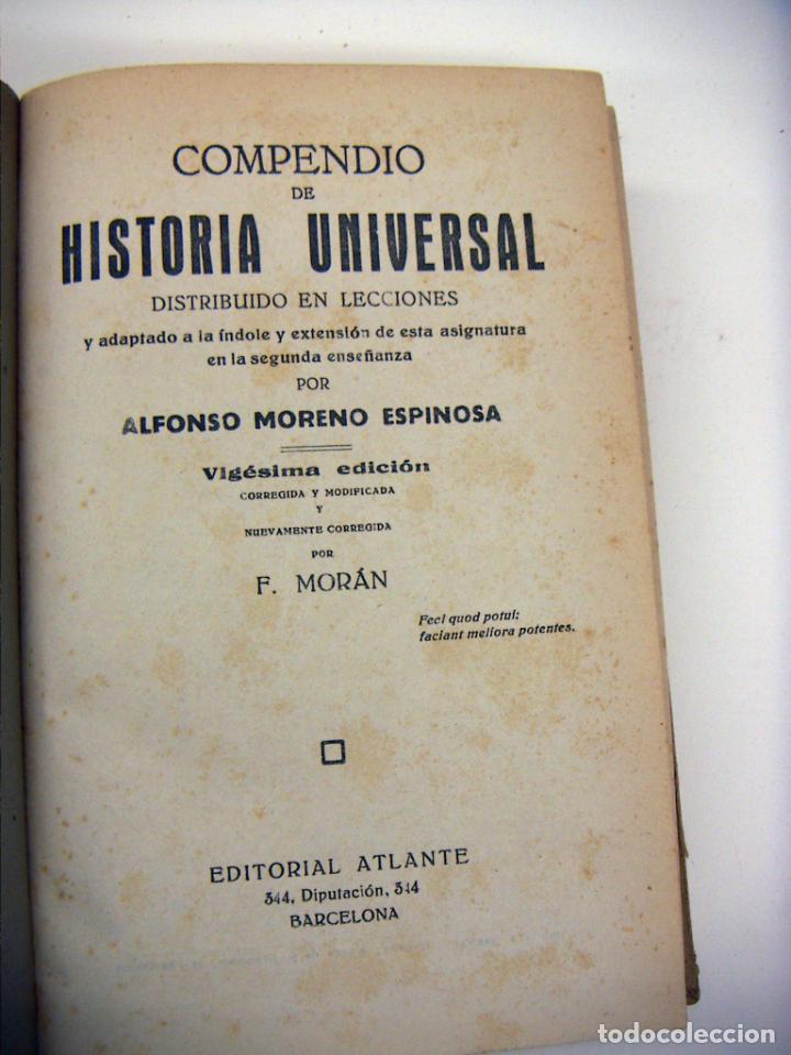Libros antiguos: COMPENDIO DE LA HISTORIA UNIVERSAL MORENO ESPINOSA EDITORIAL ATLANTE BARCELONA - Foto 2 - 190123136