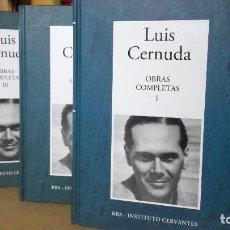 Libri antichi: LUIS CERNUDA: OBRAS COMPLETAS. 3 TOMOS. COMPLETA, (INSTITUTO CERVANTES / RBA, 2006).. Lote 275605783