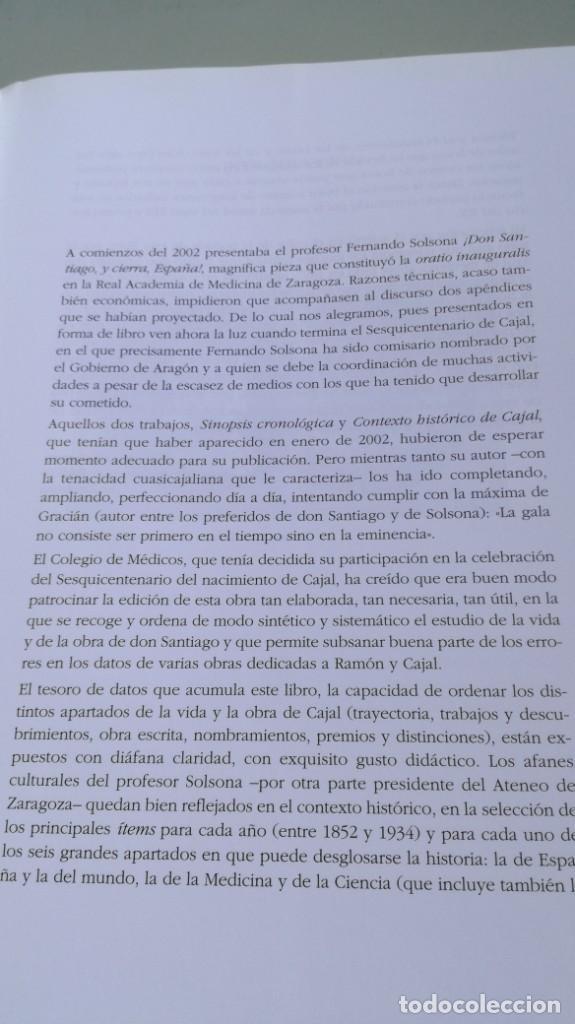 Libros antiguos: SANTIAGO RAMON Y CAJAL SINOPSIS CRONOLOGIA Y CONTEXTO HISTORICO - FERNANDO SOLSONA/ D303 - Foto 7 - 190475617