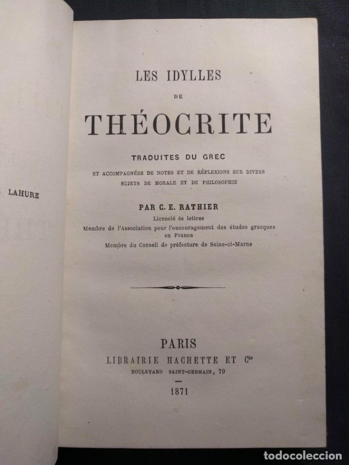 Libros antiguos: Les Idylles de Théocrite. C. E. Rathier. Paris. Libraire Hachette et Cie. 1871. - Foto 2 - 190707761