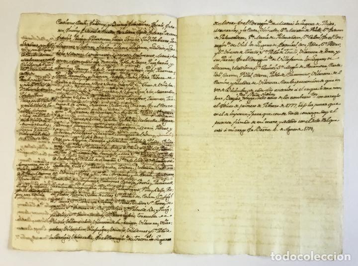 Libros antiguos: [Manuscrito.] [NOTIFICACIÓN DE LA JURISDICCIÓN DEL NUEVO DUQUE DE MEDINACELI Y DE CARDONA.] - Foto 2 - 123152910