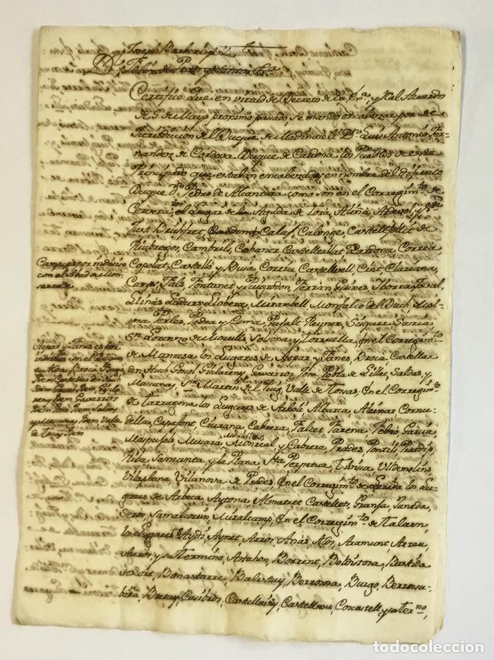 [MANUSCRITO.] [NOTIFICACIÓN DE LA JURISDICCIÓN DEL NUEVO DUQUE DE MEDINACELI Y DE CARDONA.] (Libros Antiguos, Raros y Curiosos - Historia - Otros)