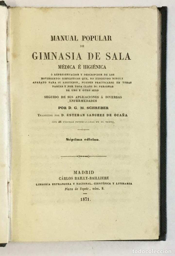 MANUAL POPULAR DE GIMNASIA DE SALA MÉDICA É HIGIÉNICA O REPRESENTACIÓN Y DESCRIPCIÓN DE LOS MOVIMIEN (Libros Antiguos, Raros y Curiosos - Ciencias, Manuales y Oficios - Otros)