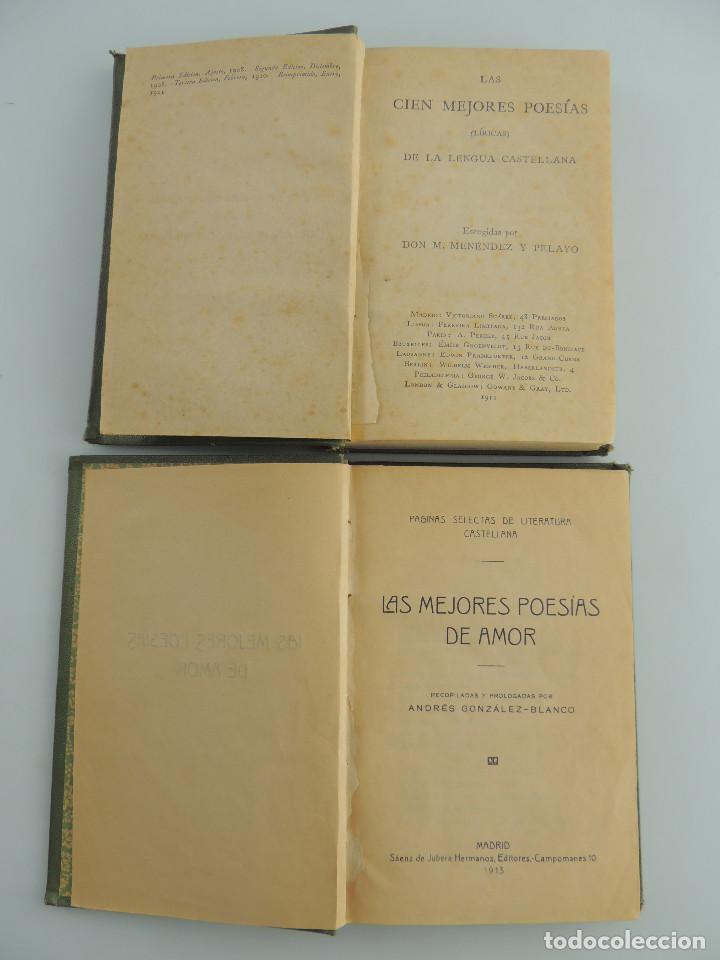 DOS LIBROS -LAS CIEN MEJORES POESIAS -LAS MEJORES POESIAS DE AMOR (Libros Antiguos, Raros y Curiosos - Literatura - Otros)