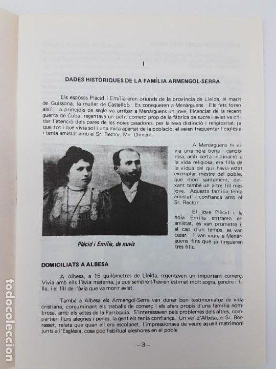Libros antiguos: CINQUANTÈ ANIVERSARI INMOLACIO FAMILIA ARMENGOL- SERRA ( 1936-1986 ) - Foto 6 - 191061566