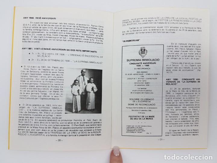 Libros antiguos: CINQUANTÈ ANIVERSARI INMOLACIO FAMILIA ARMENGOL- SERRA ( 1936-1986 ) - Foto 8 - 191061566