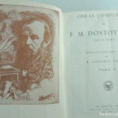 Libros antiguos: OBRAS COMPLETAS TOMO SEGUNDO POR FIODOR DOSTOYEVSKI EDICION AGUILAR AÑO1935. Lote 191282526