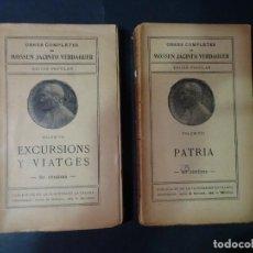 Libros antiguos: LOTE DE 2 TOMOS DE LAS OBRAS DE JACINT VERDAGUER, VII Y VIII , VER FOTOS. Lote 191584867