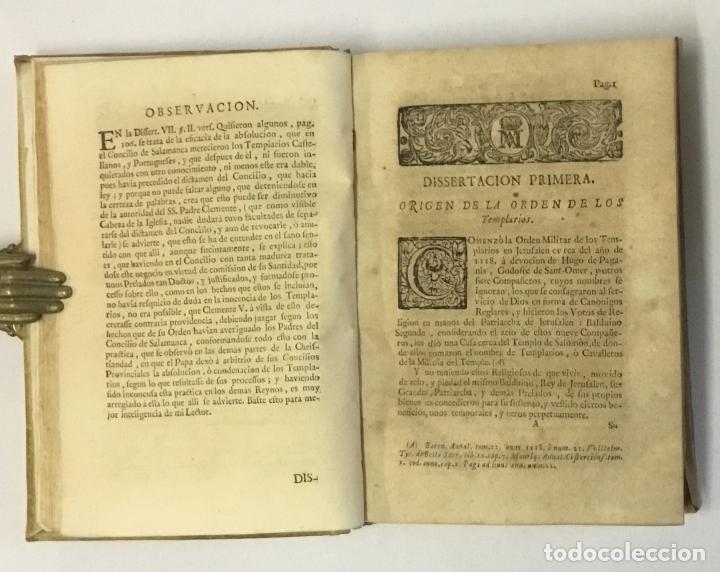 Libros antiguos: DISSERTACIONES HISTORICAS DEL ORDEN, Y CAVALLERIA DE LOS TEMPLARIOS... RODRÍGUEZ CAMPOMANES, Pedro. - Foto 3 - 191712533