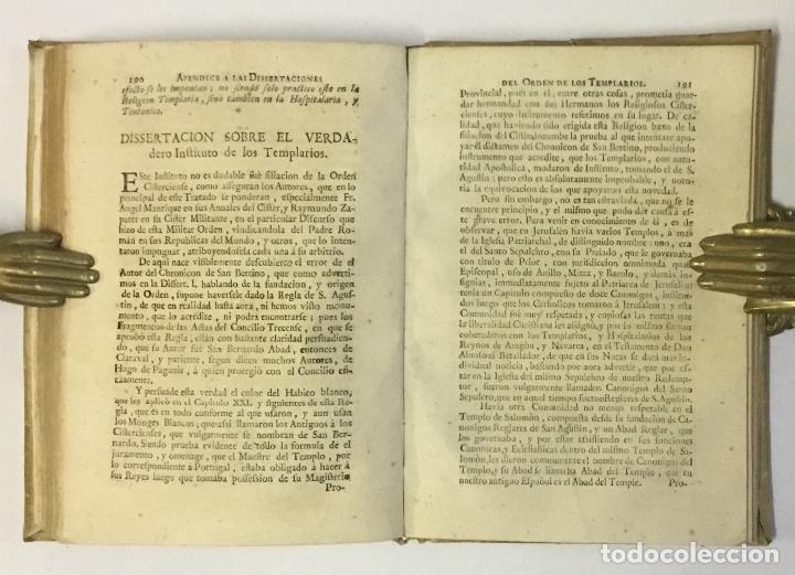 Libros antiguos: DISSERTACIONES HISTORICAS DEL ORDEN, Y CAVALLERIA DE LOS TEMPLARIOS... RODRÍGUEZ CAMPOMANES, Pedro. - Foto 5 - 191712533