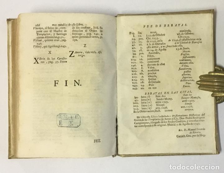 Libros antiguos: DISSERTACIONES HISTORICAS DEL ORDEN, Y CAVALLERIA DE LOS TEMPLARIOS... RODRÍGUEZ CAMPOMANES, Pedro. - Foto 8 - 191712533