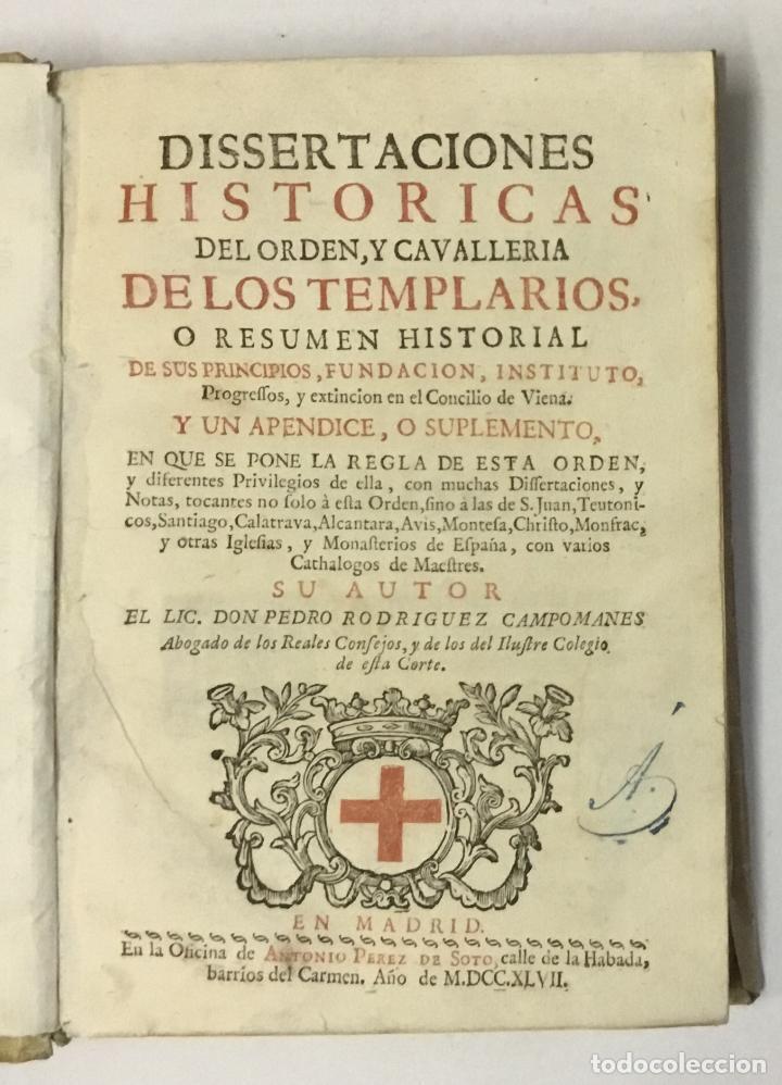 DISSERTACIONES HISTORICAS DEL ORDEN, Y CAVALLERIA DE LOS TEMPLARIOS... RODRÍGUEZ CAMPOMANES, PEDRO. (Libros Antiguos, Raros y Curiosos - Historia - Otros)