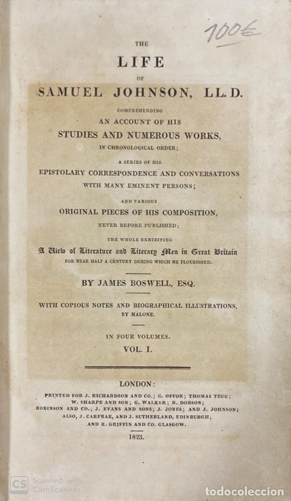 Libros antiguos: THE LIFE OF SAMUEL JOHNSON. BY JAMES BOSWELL. VOL. I. LONDON, 1823. PAGS: 416 - Foto 4 - 191870518