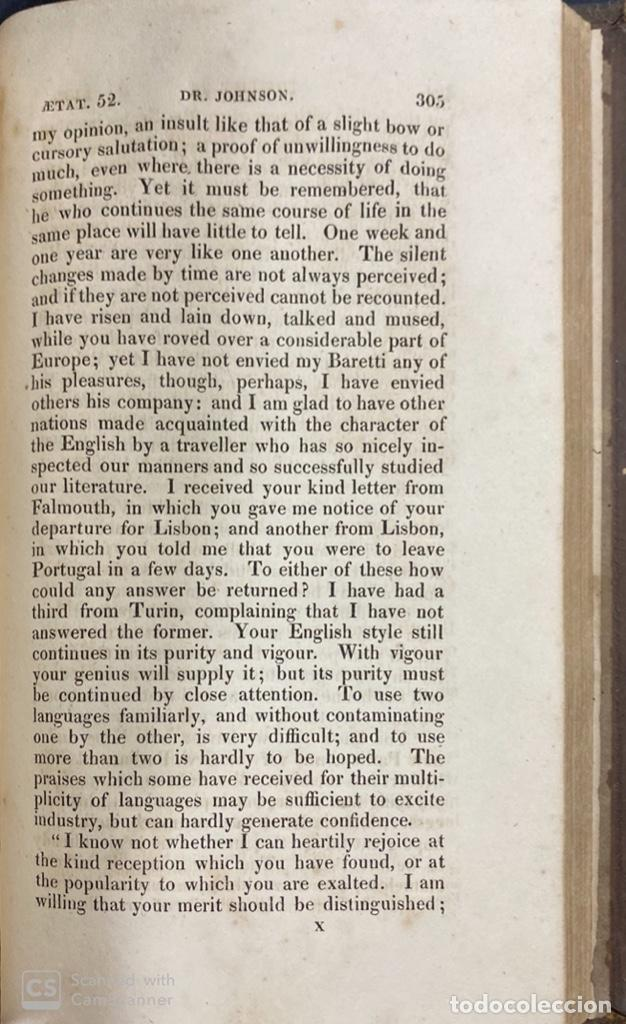 Libros antiguos: THE LIFE OF SAMUEL JOHNSON. BY JAMES BOSWELL. VOL. I. LONDON, 1823. PAGS: 416 - Foto 8 - 191870518
