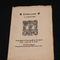 Libros antiguos: ANTONIO DE VILLEGAS. EL ABENCERRAJE. FACSIMIL. EDICIÓN DE MEDINA DEL CAMPO, 1565. MADRID, 1880.. Lote 191821501