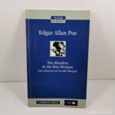 Livres anciens: LIBRO EDGAR ALLAN POE - THE MURDERS IN THE RUE MORGUE - INGLÉS Y CASTELLANO / N-9914. Lote 192350031