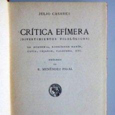 Libri antichi: JULIO CASARES // CRÍTICA EFÍMERA // DIVERTIMENTOS FILOLÓGICOS // 1918 // EDITORIAL CALLEJA. Lote 192376728