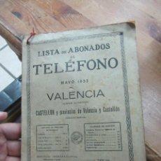 Libros antiguos: LISTA DE ABONADOS AL TELÉFONO , GUIA TELEFONICA (MAYO 1933) VALENCIA. L.20769. Lote 192441420