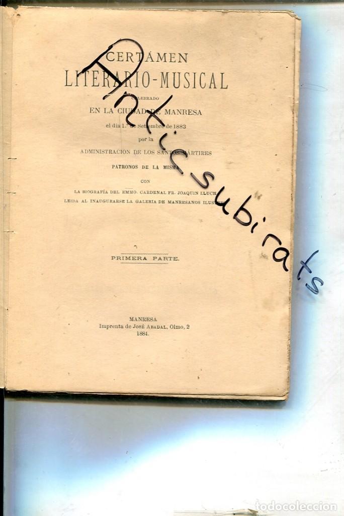 CERTAMEN LITERARIO MUSICAL ADMINISTRACION DE LOS SANTOS MARTIRES DE MANRESA 1884 FILOXERA VINO (Libros Antiguos, Raros y Curiosos - Otros Idiomas)
