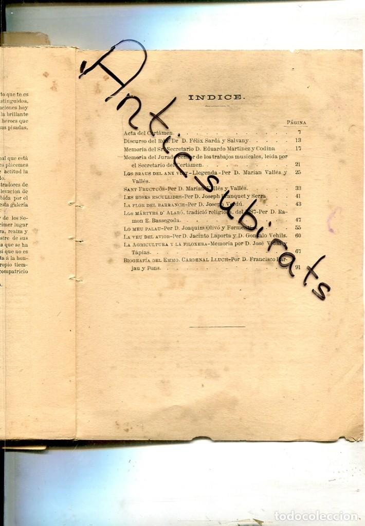 Libros antiguos: CERTAMEN LITERARIO MUSICAL ADMINISTRACION DE LOS SANTOS MARTIRES DE MANRESA 1884 FILOXERA VINO - Foto 2 - 192501710