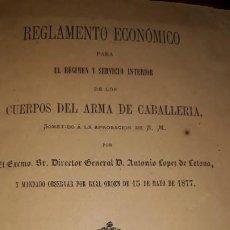 Libros antiguos: REGLAMENTO SERVICIO CUERPOS ARMA CABALLERÍA ANTONIO LÓPEZ LETONA REAL ORDEN 1877 CORONEL DOCUMENTACI. Lote 192638032