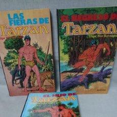 Libri antichi: LOTE DE TRES LIBROS TARZAN - EDGAR RICE BURROUGHS - MONTENA. Lote 192699887