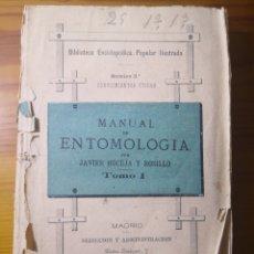 Libros antiguos: 1881 - MANUAL DE ENTOMOLOGÍA, JAVIER HOCEJA Y ROSILLO. Lote 192753823