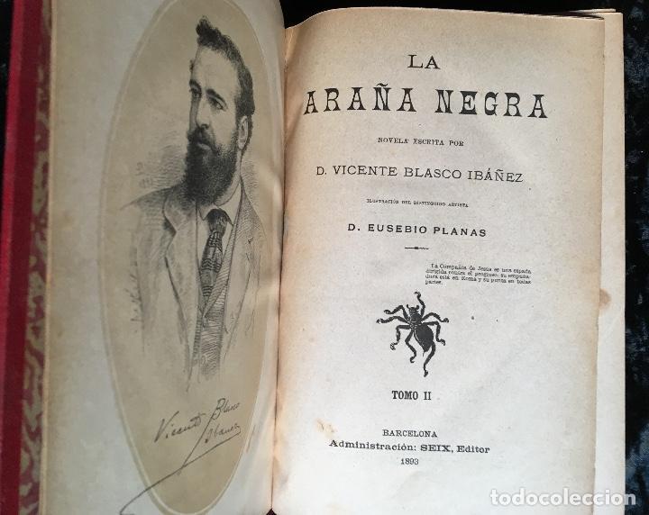 Libros antiguos: LA ARAÑA NEGRA - VICENTE BLASCO IBÁÑEZ - 1892 - 2 TOMOS - CROMOLITOGRAFÍAS - 1ª ED. SEIX EDITOR - Foto 12 - 192836916
