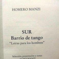 """Livres anciens: """"SUR. BARRIO DE TANGO. """"""""LETRAS PARA LOS HOMBRES"""""""""""" - MANZI, HOMERO. Lote 193541587"""